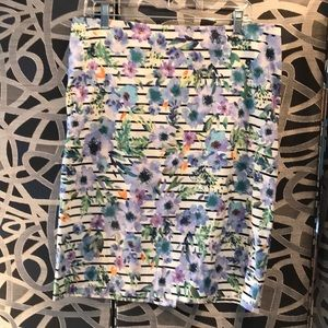 Pencil skirt in floral/stripe pattern